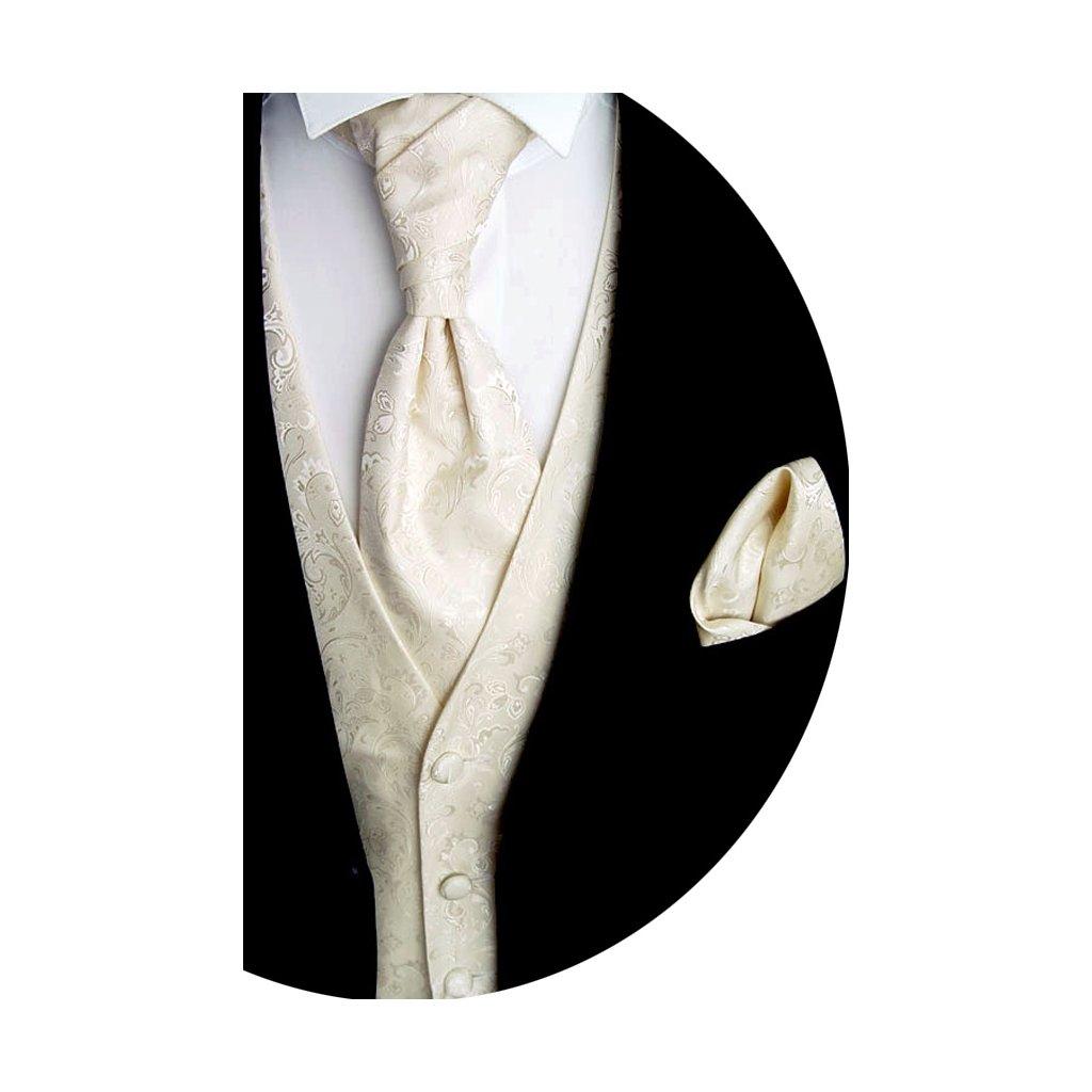 Svatební vesta Beytnur 18-1 plastron, kravata a kapesníček