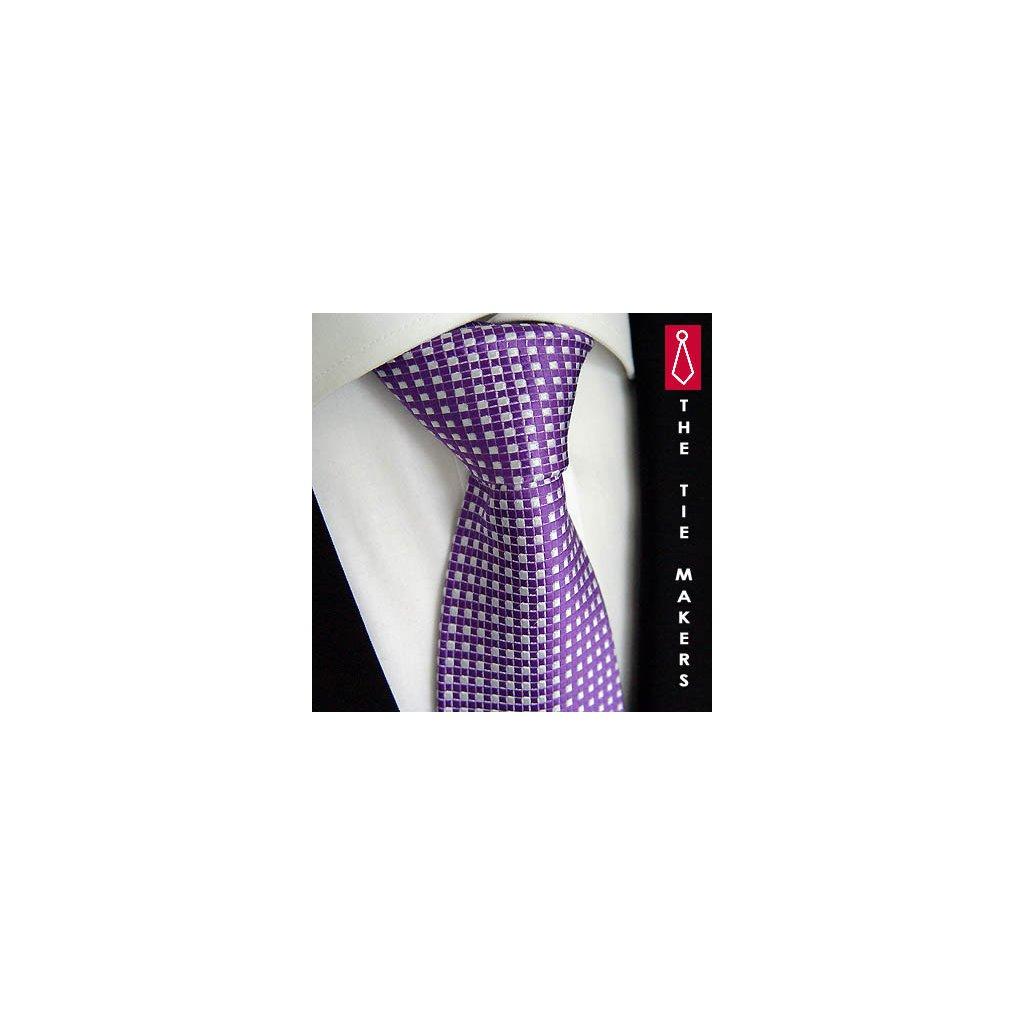 Kostičkovaná kravata Beytnur 102-3  fialová