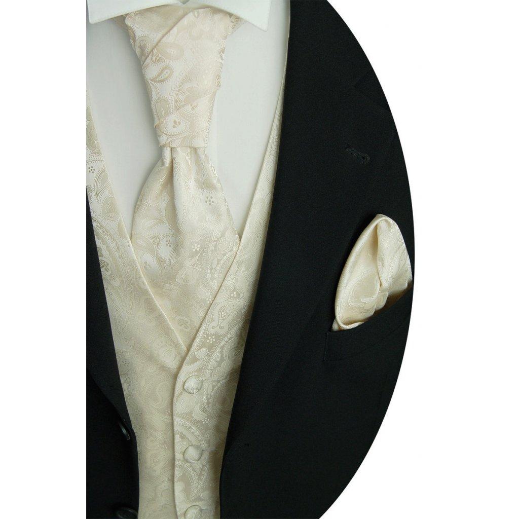 Svatební vesta Beytnur 20-1 plastron, kravata a kapesníček