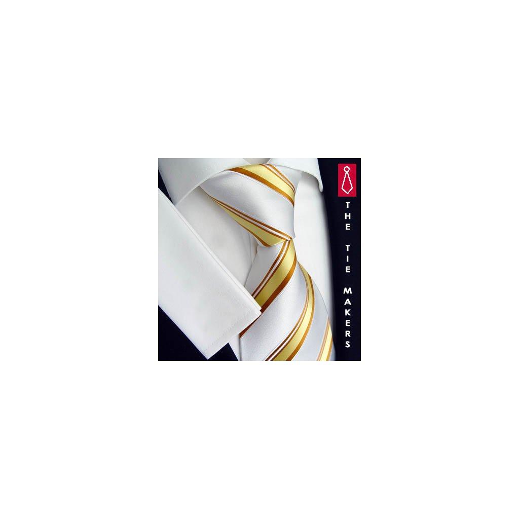 Bílo zlatá kravata Beytnur 168-1 pruhovaná