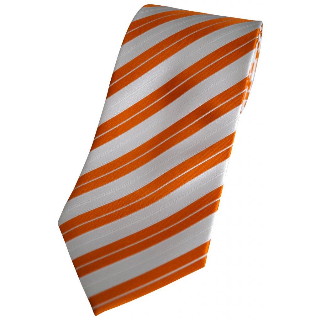 Zlatooranžová bílá kravata Beytnur 128-4