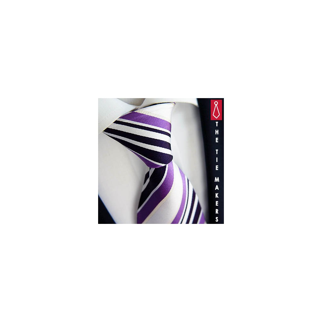 Fialovobílá hedvábná kravata Beytnur 43-1