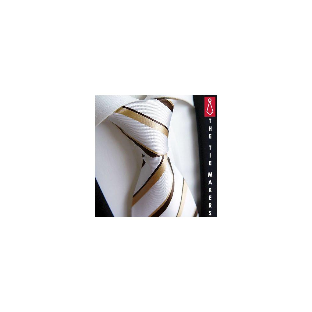Bílá hedvábná kravata Beytnur 18-5 zlatohnědý proužek