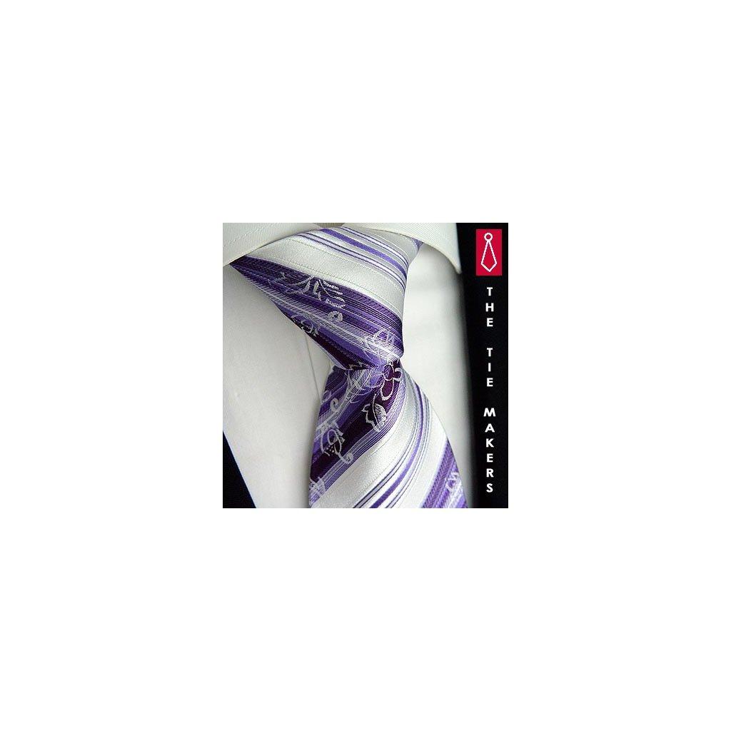 Svatební hedvábná kravata Beytnur 200-3 fialová