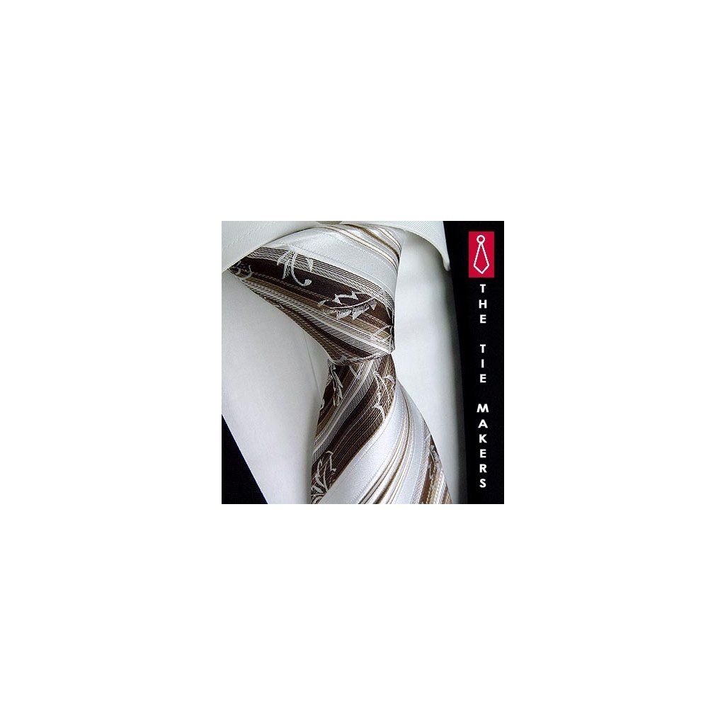 Svatební hedvábná kravata Beytnur 200-4 hnědá