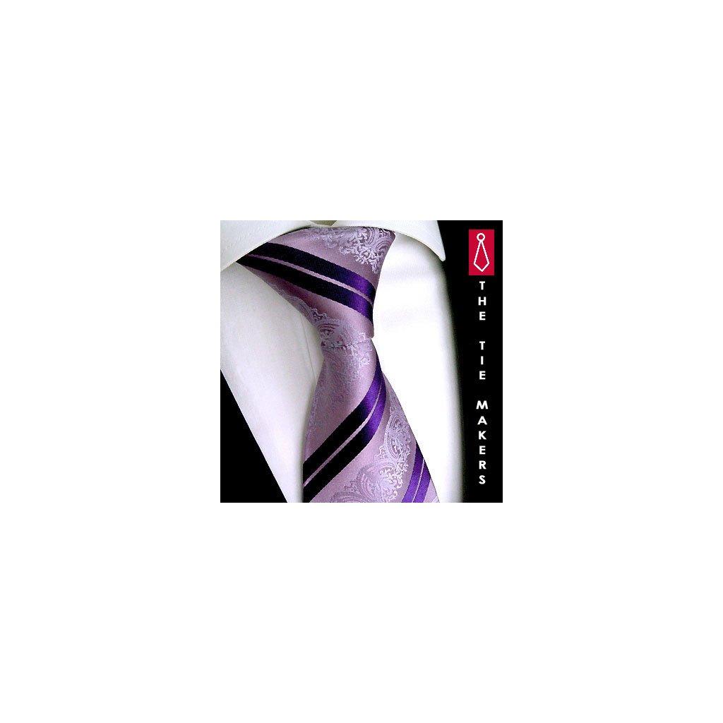 Svatební kravata fialová vzor paisley Beytnur 199-3