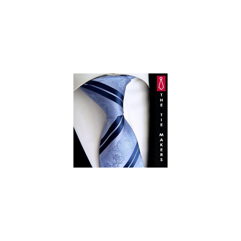 Svatební kravata modrá vzor paisley Beytnur 199-5