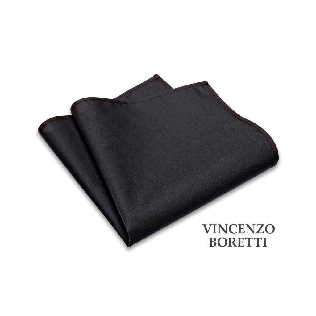 Bavlněný kapesníček Vincenzo Boretti - černý