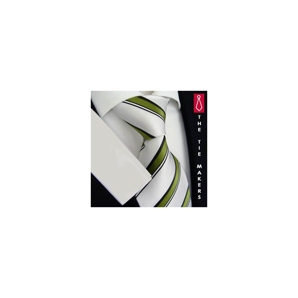 Zelenobílá kravata Beytnur 168-2 pruhovaná