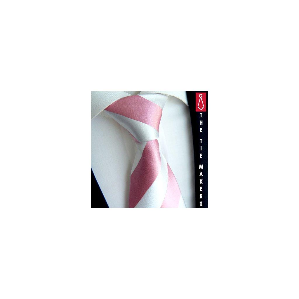 Jemná hedvábná kravata Beytnur 114-5 ružovobílá