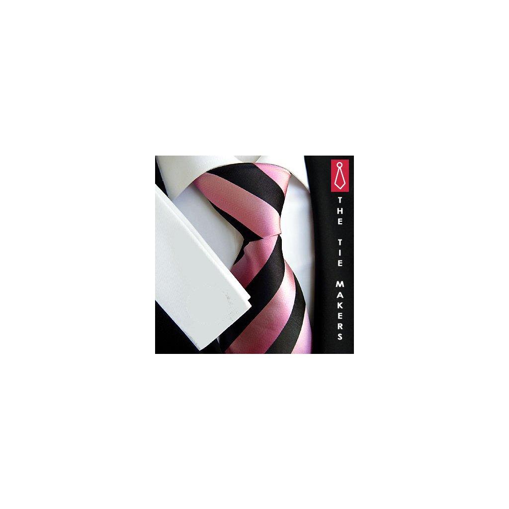 Jemná hedvábná kravata Beytnur 93-2 černorůžová