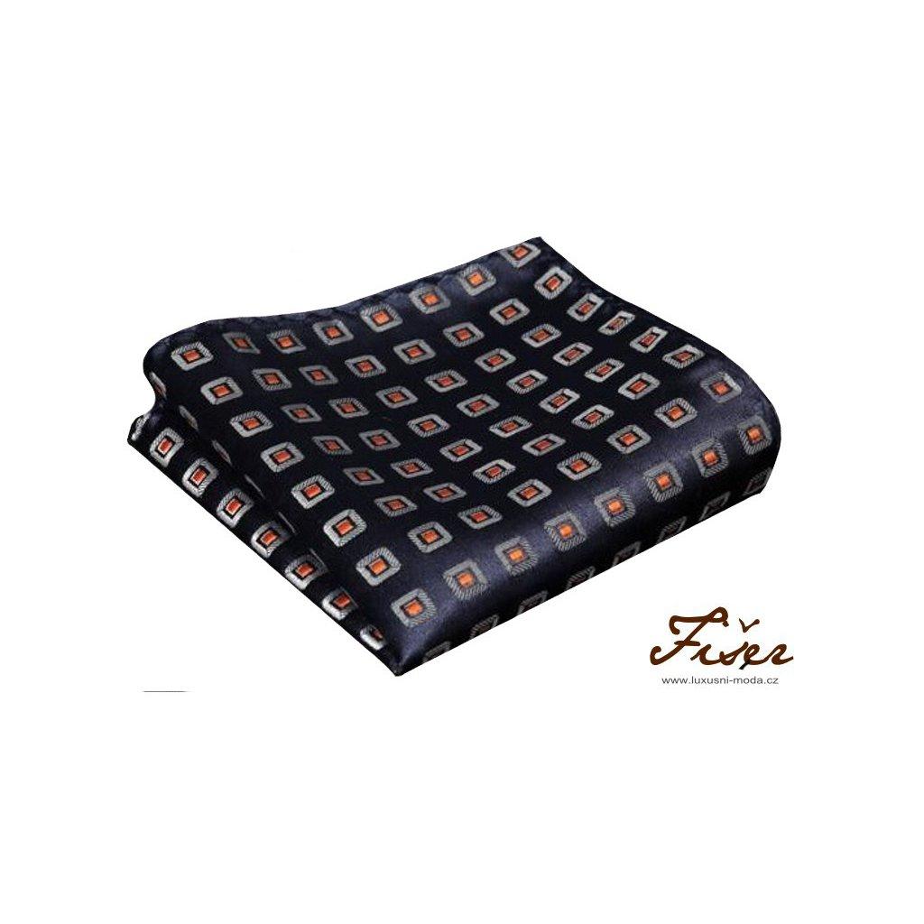 Hedvábný kapesníček modrý vzor FI102