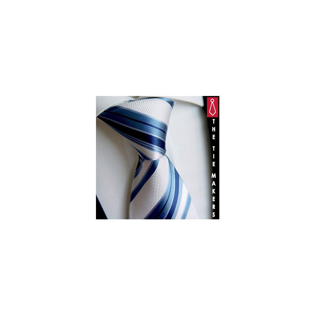 Luxusní hedvábná kravata Beytnur 6 modrý pruh