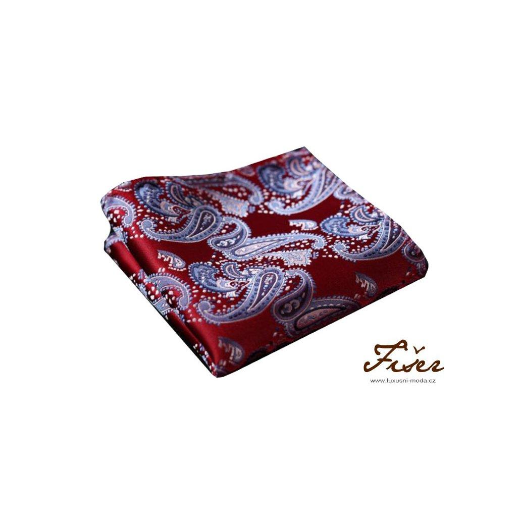Hedvábný kapesníček červeno modrý paisley