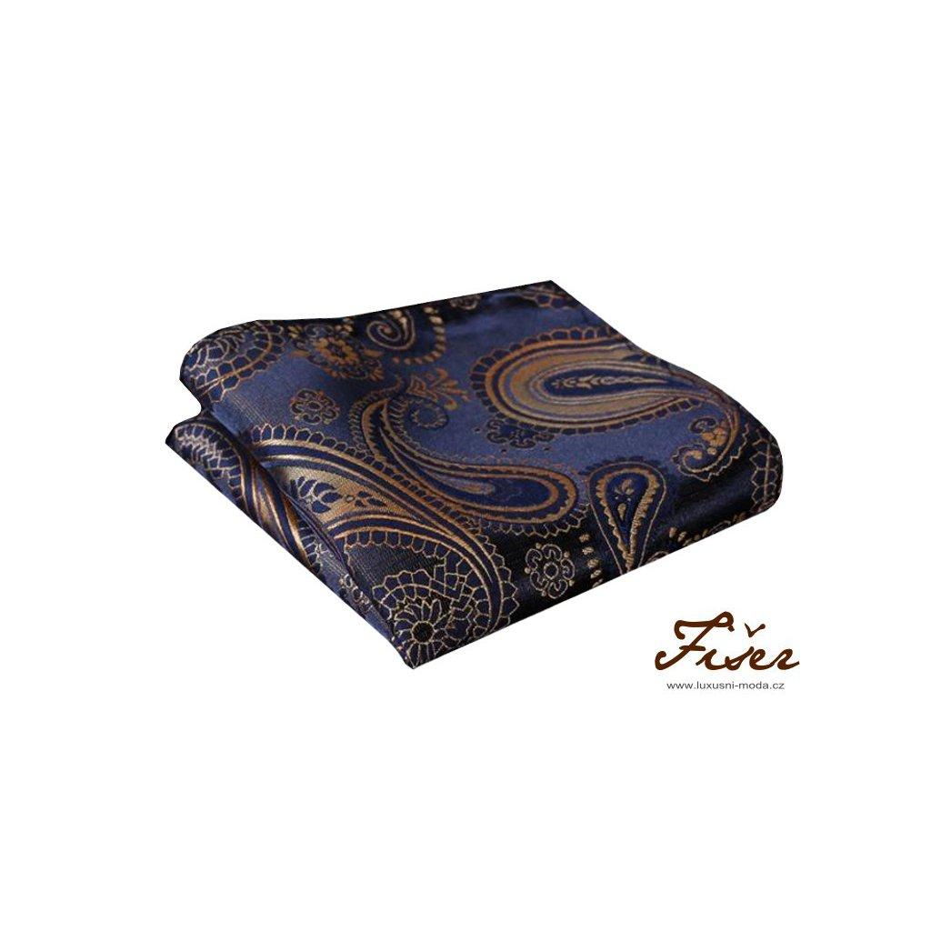 Hedvábný kapesníček modro zlatý paisley