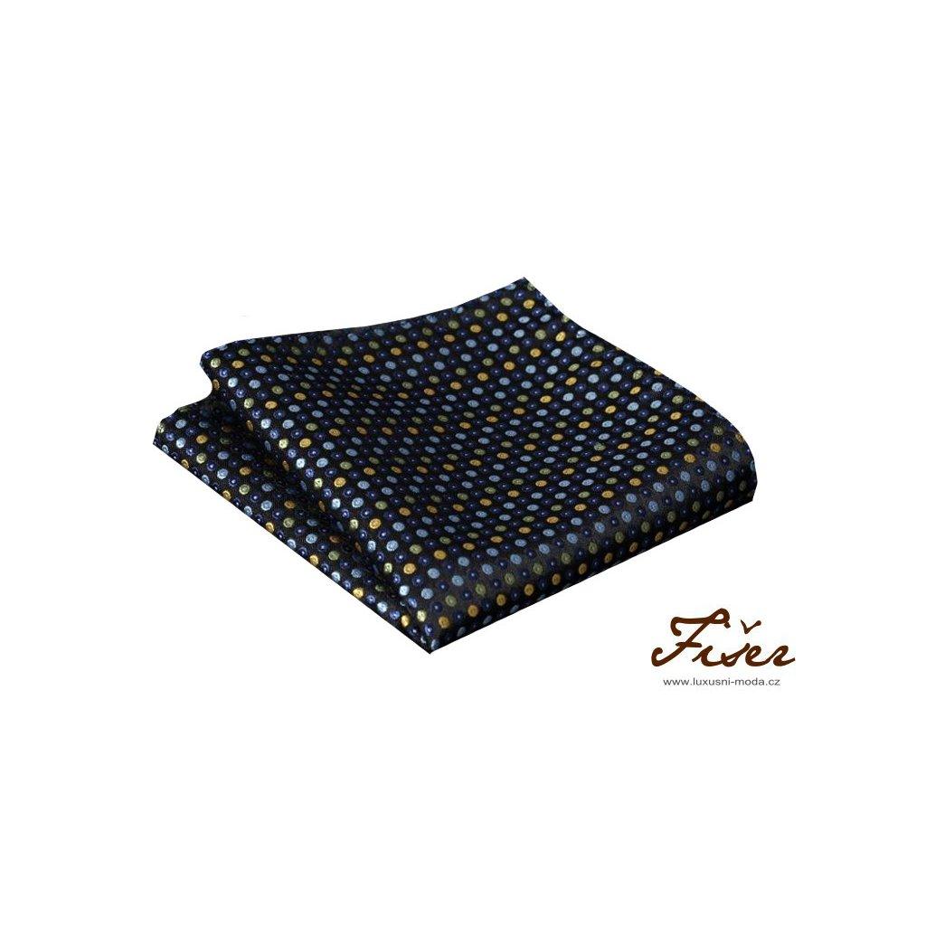 Hedvábný kapesníček tmavě modrý s puntíky