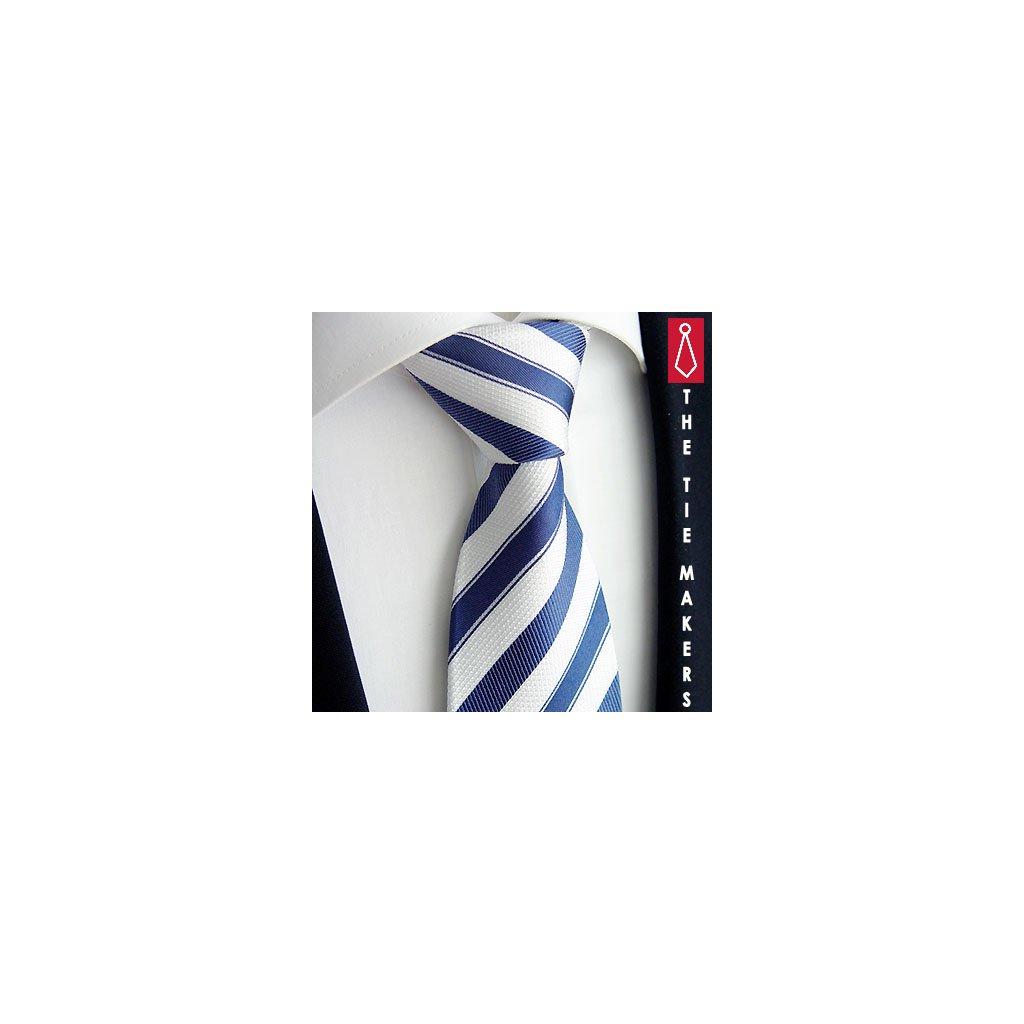 Hedvábná kravata Beytnur 211-4 modrý pruh