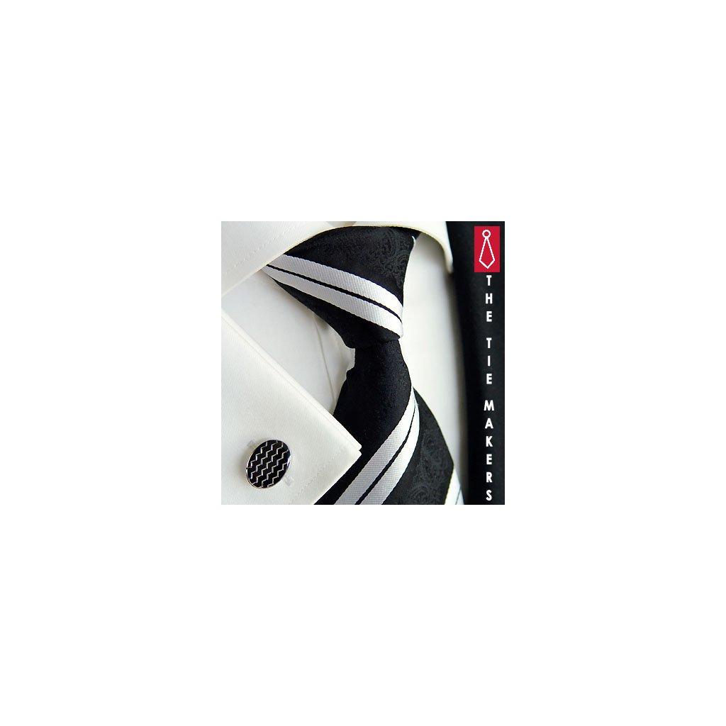 Luxusní hedvábná kravata černá s bílým pruhem 199-7