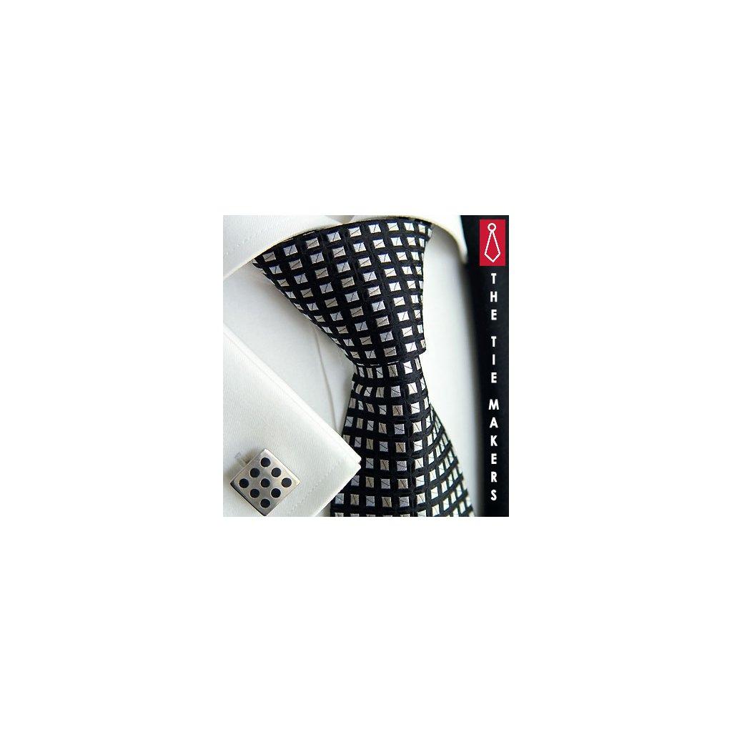 Luxusní hedvábná kravata černá s kostkou 216-1