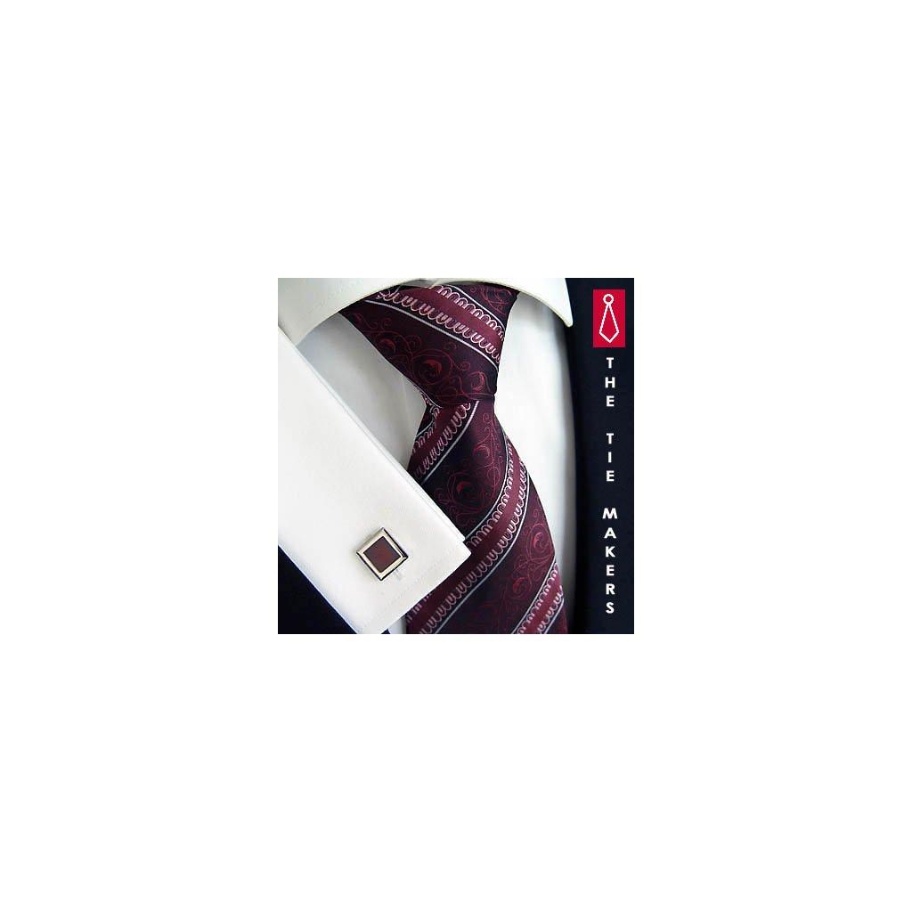 Luxusní hedvábná kravata vínová s pruhem 192-5