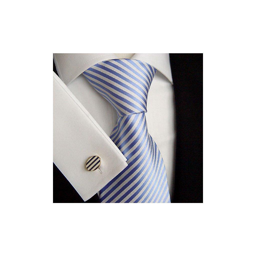 Hedvábná kravata Beytnur 148-2 bílo modrý proužek