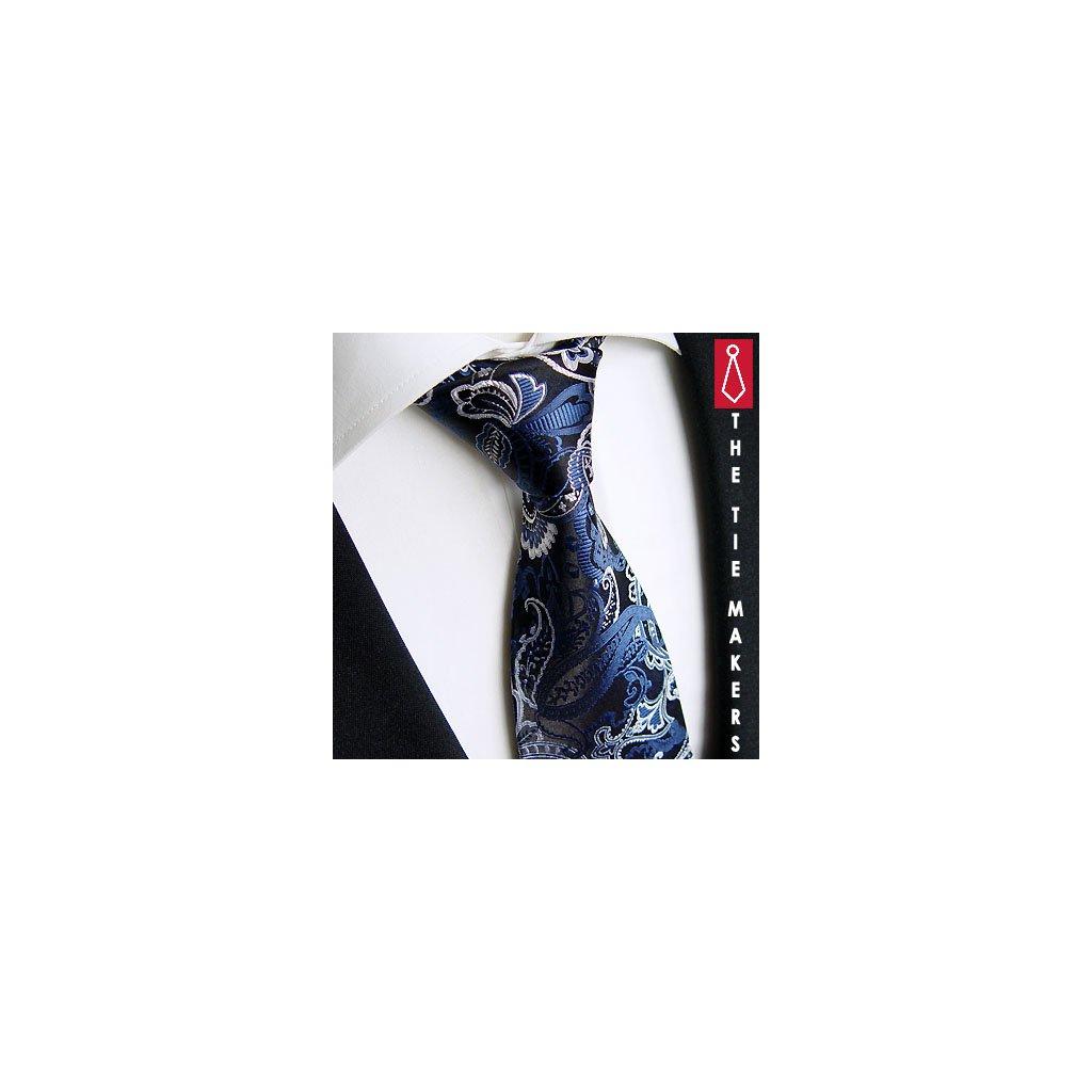 Beytnur 224-2 hedvábná kravata černo modrá paisley