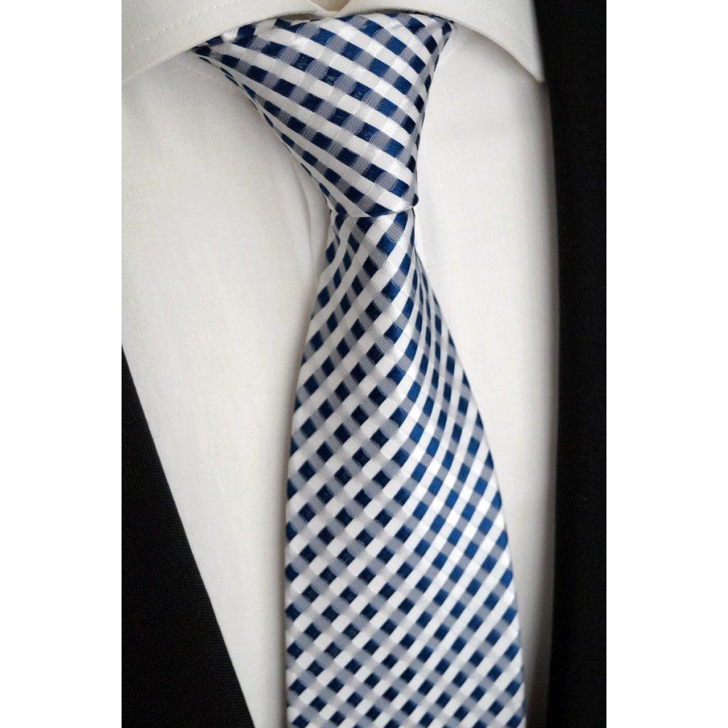 Kostičkovaná bílomodrá kravata Beytnur 40-8