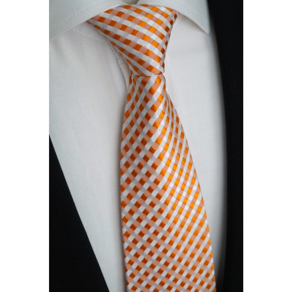 Kostičkovaná bílo oranžová kravata Beytnur 40-2