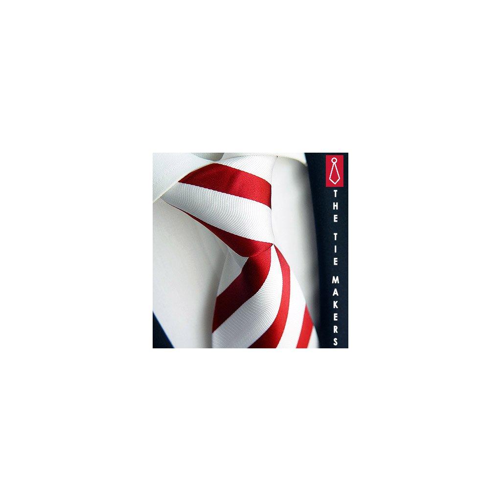 Luxusní kravata Beytnur 44-4 červeno bílá