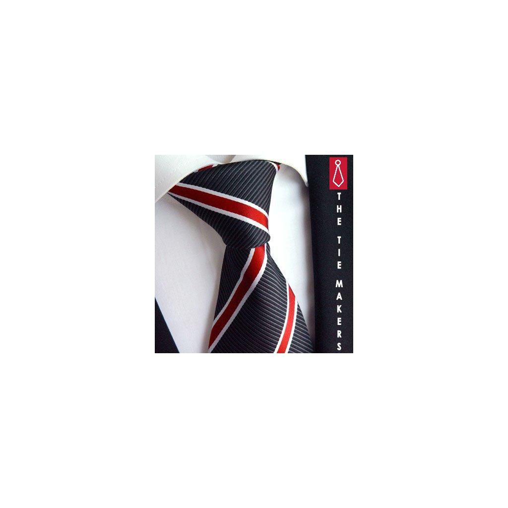 Manažerská kravata Beytnur 120-2 černá s pruhem