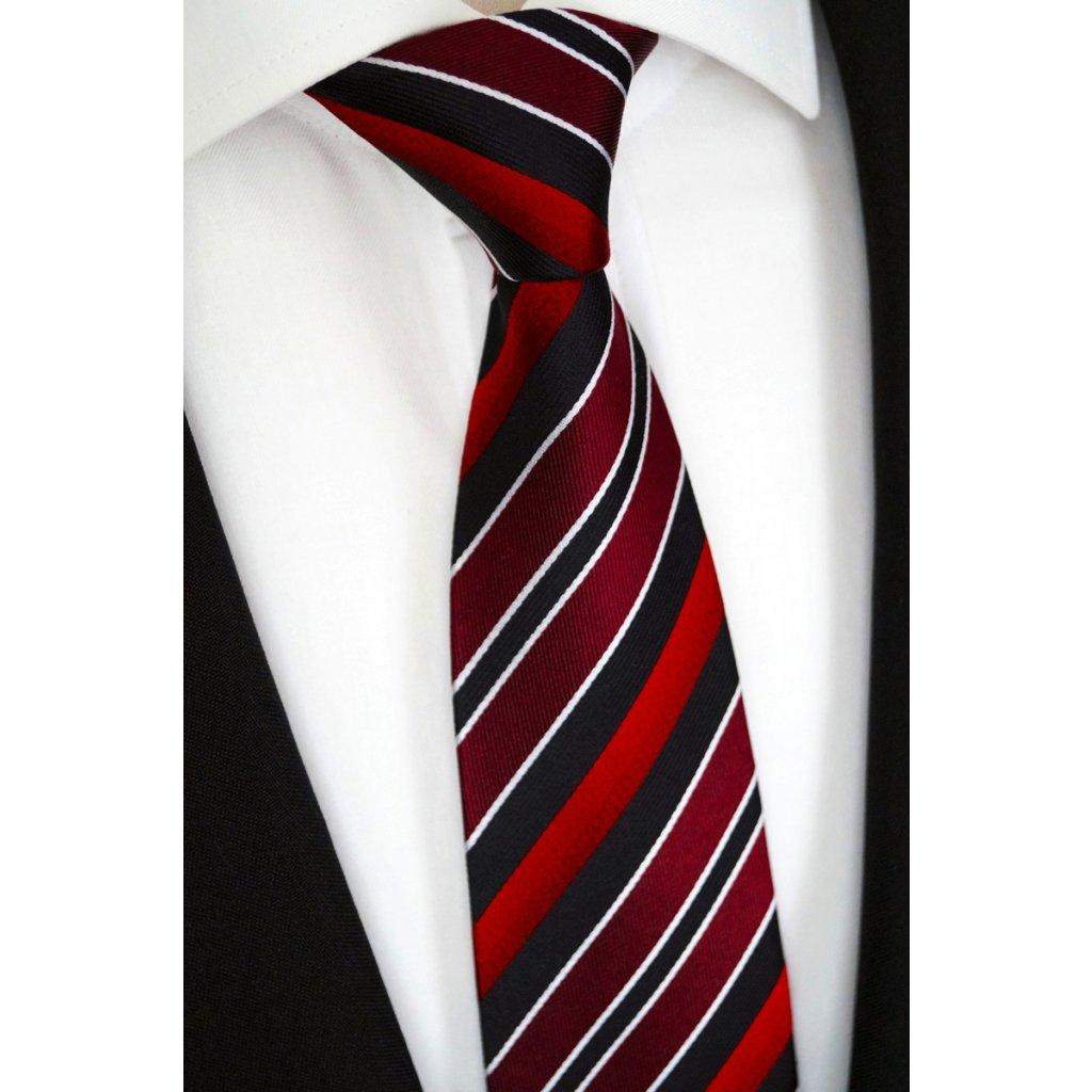 Hedvábná kravata červená 87 1