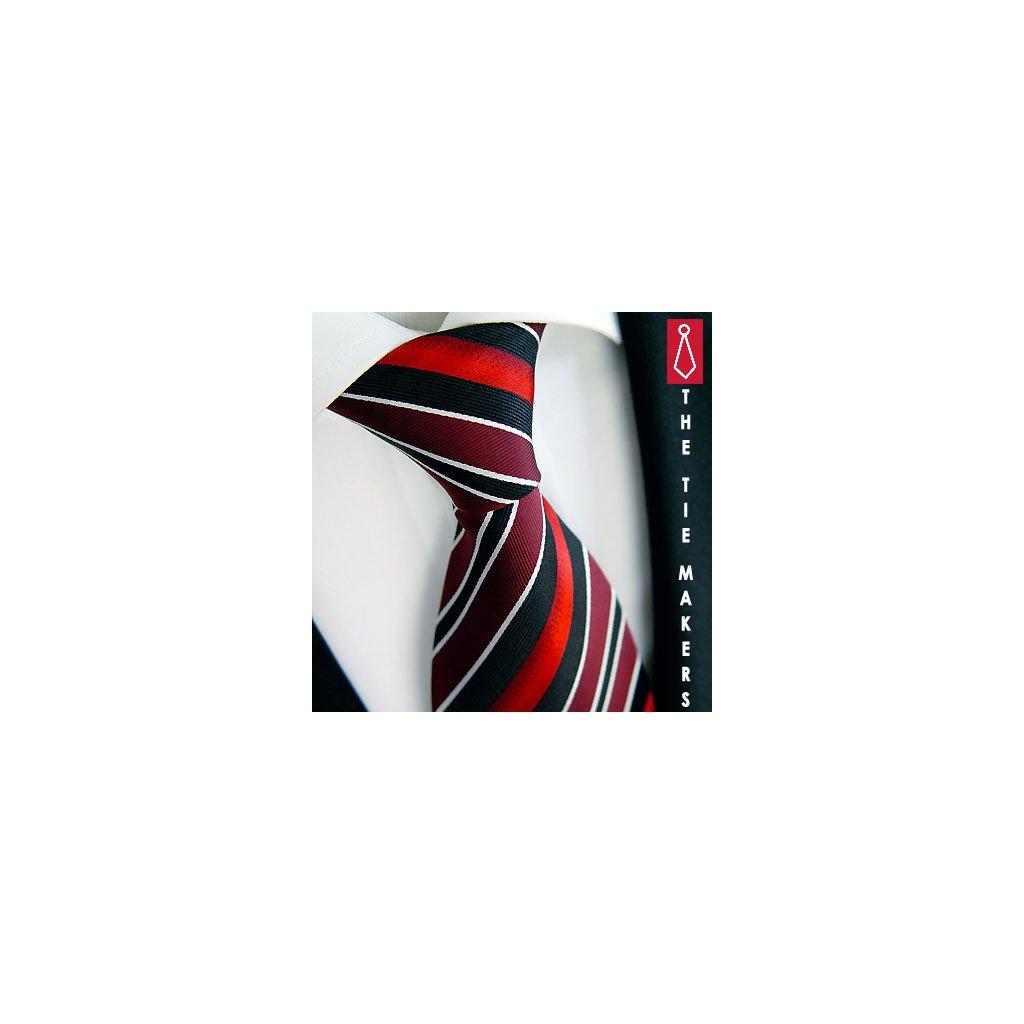 100% hedvábná kravata Beytnur 87-1 červeno černá