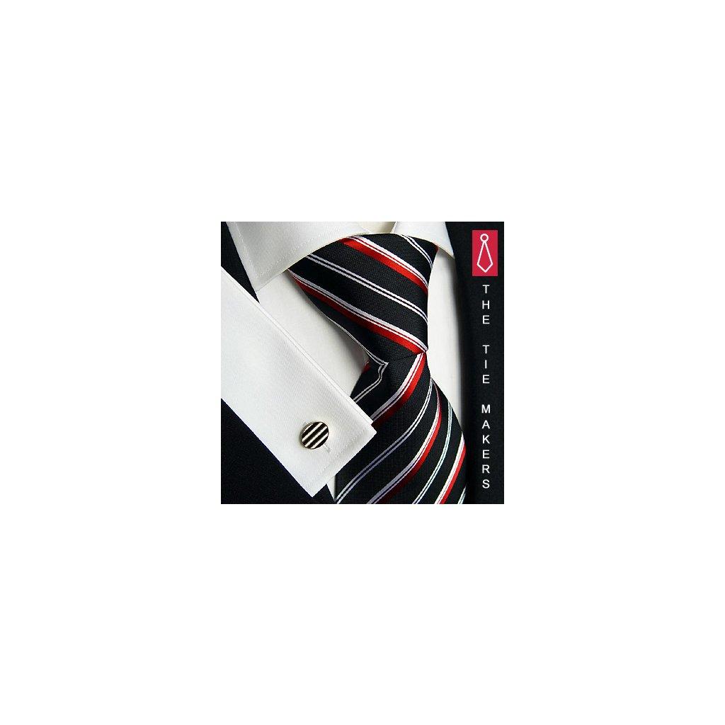 Luxusní hedvábná kravata černá s proužky 118-1