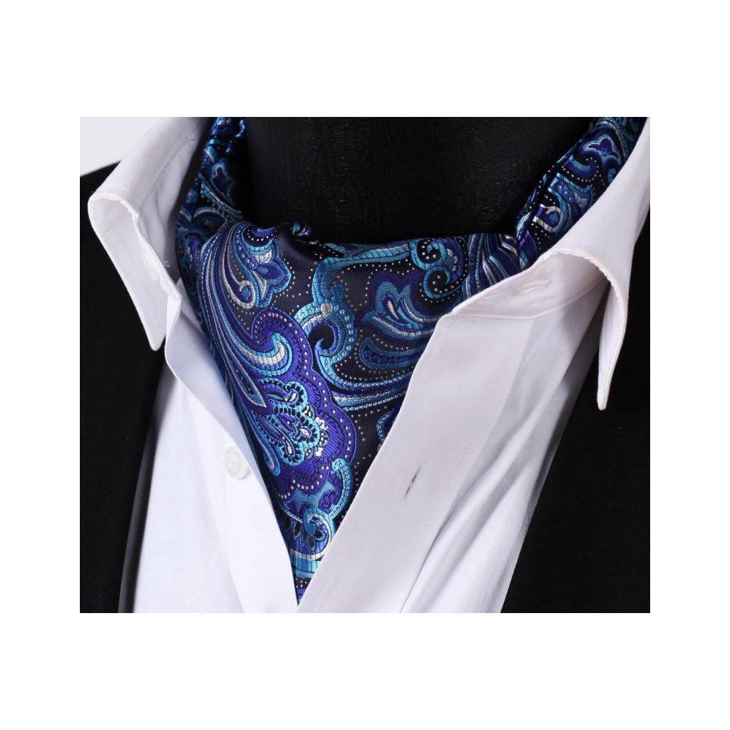 Luxusní hedvábný ascot s velkým modrým vzorem