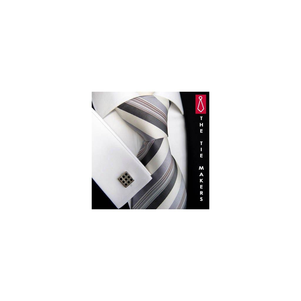 Luxusní hedvábná kravata bílá s šedými proužky 160-3