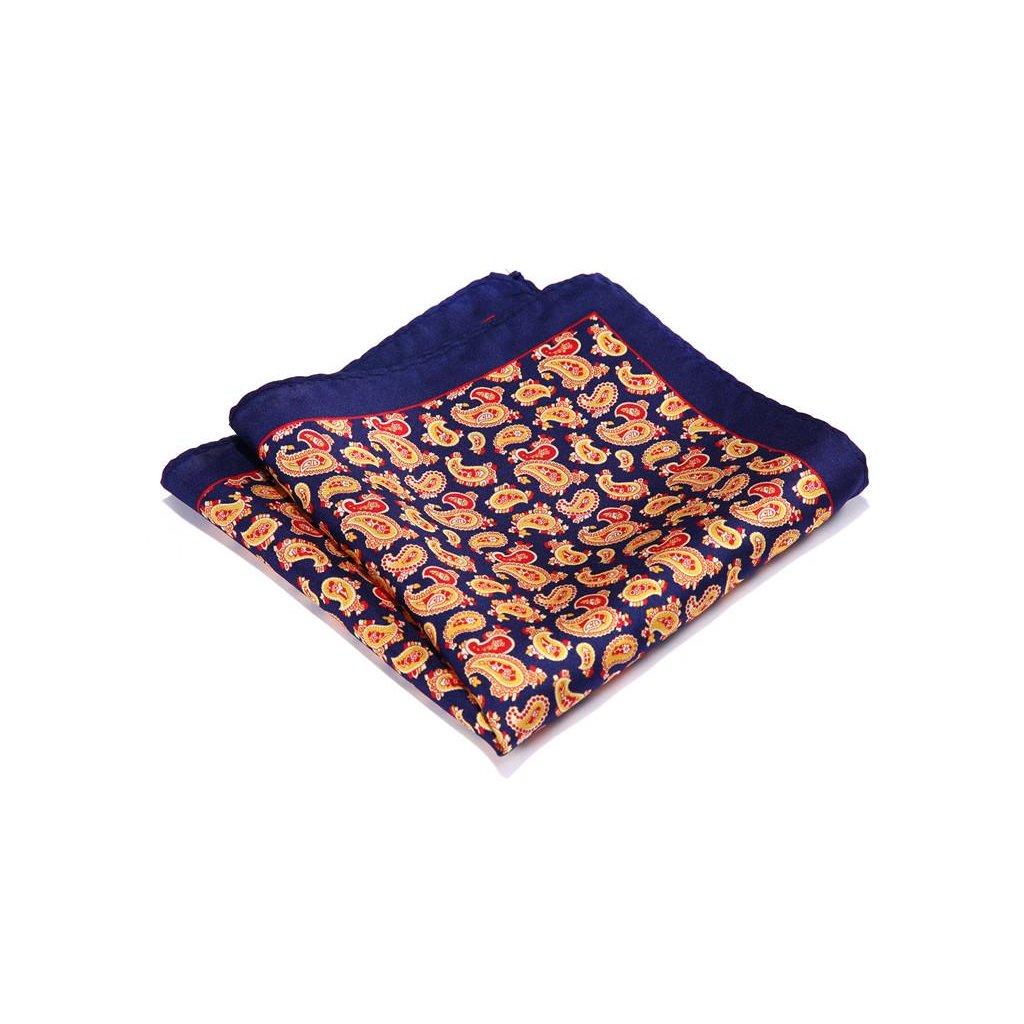 Hedvábný kapesníček modrý - oranžový paisley vzor