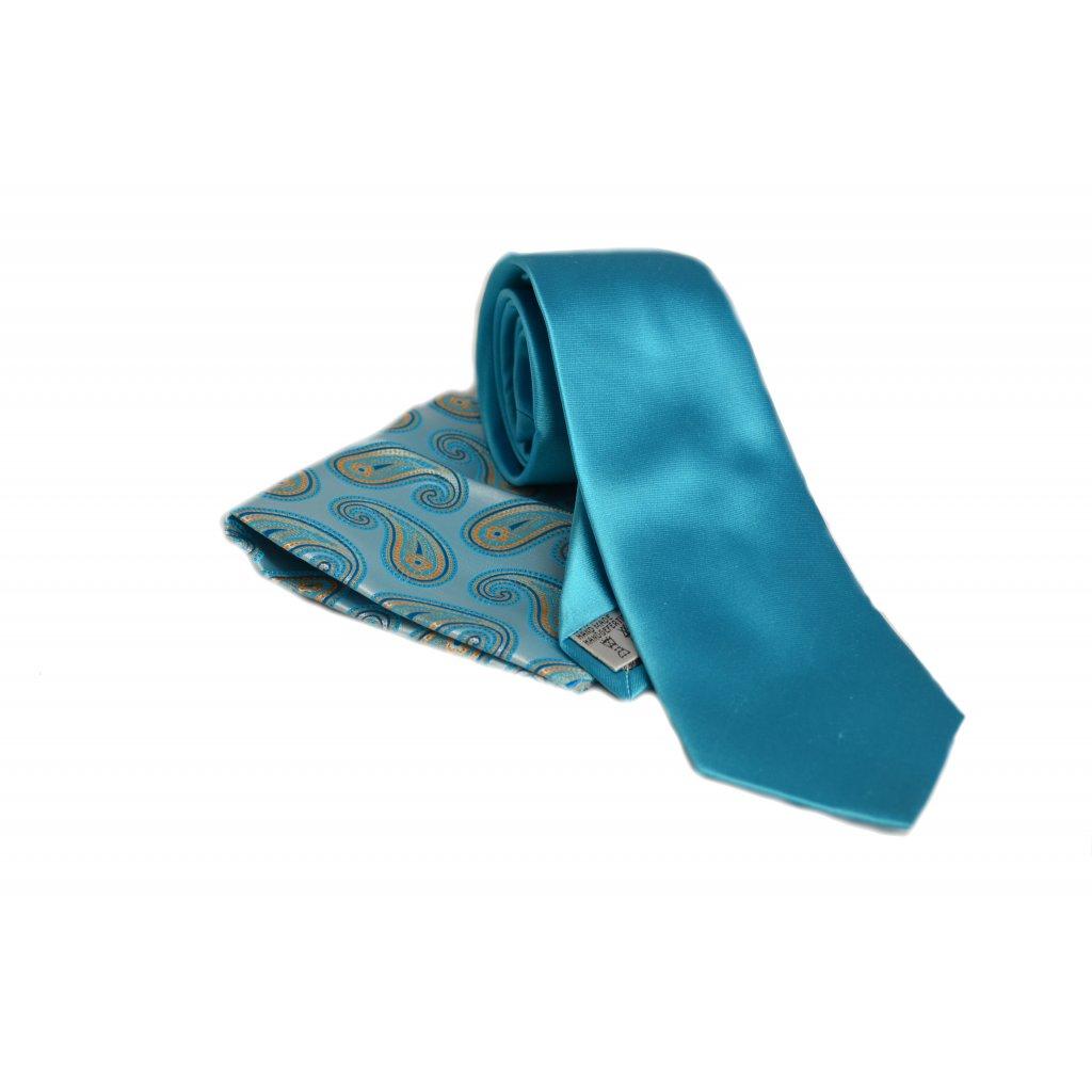 Vincenzo Boretti kravata a kapesníček tyrkysová