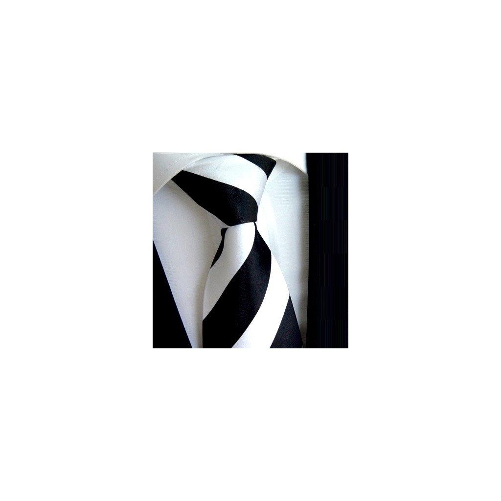 100% hedvábná kravata Beytnur 114-1 bílo černá