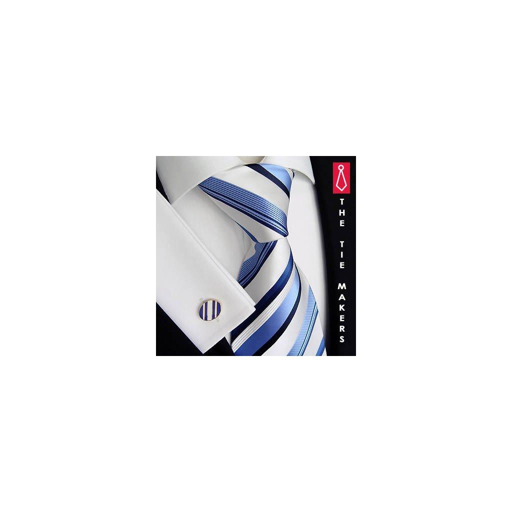 Luxusní hedvábná kravata bílá s modrým pruhem 163-1