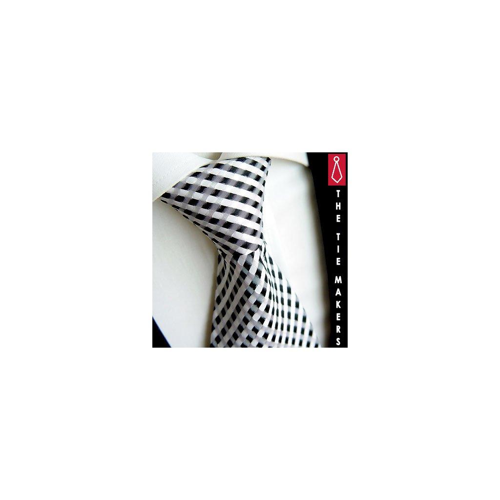 Kostičkovaná bíločerná kravata Beytnur 40-1