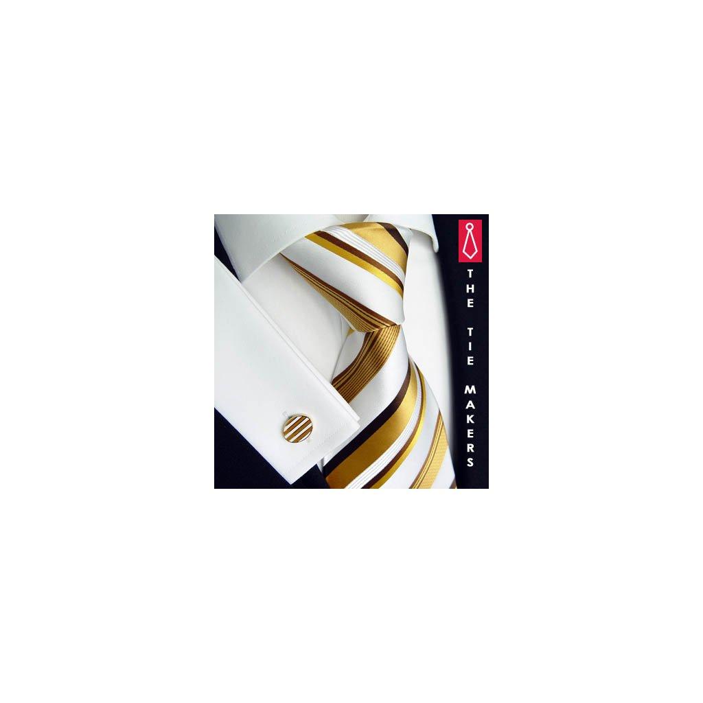 Luxusní hedvábná kravata bílá se zlatým pruhem 163-2