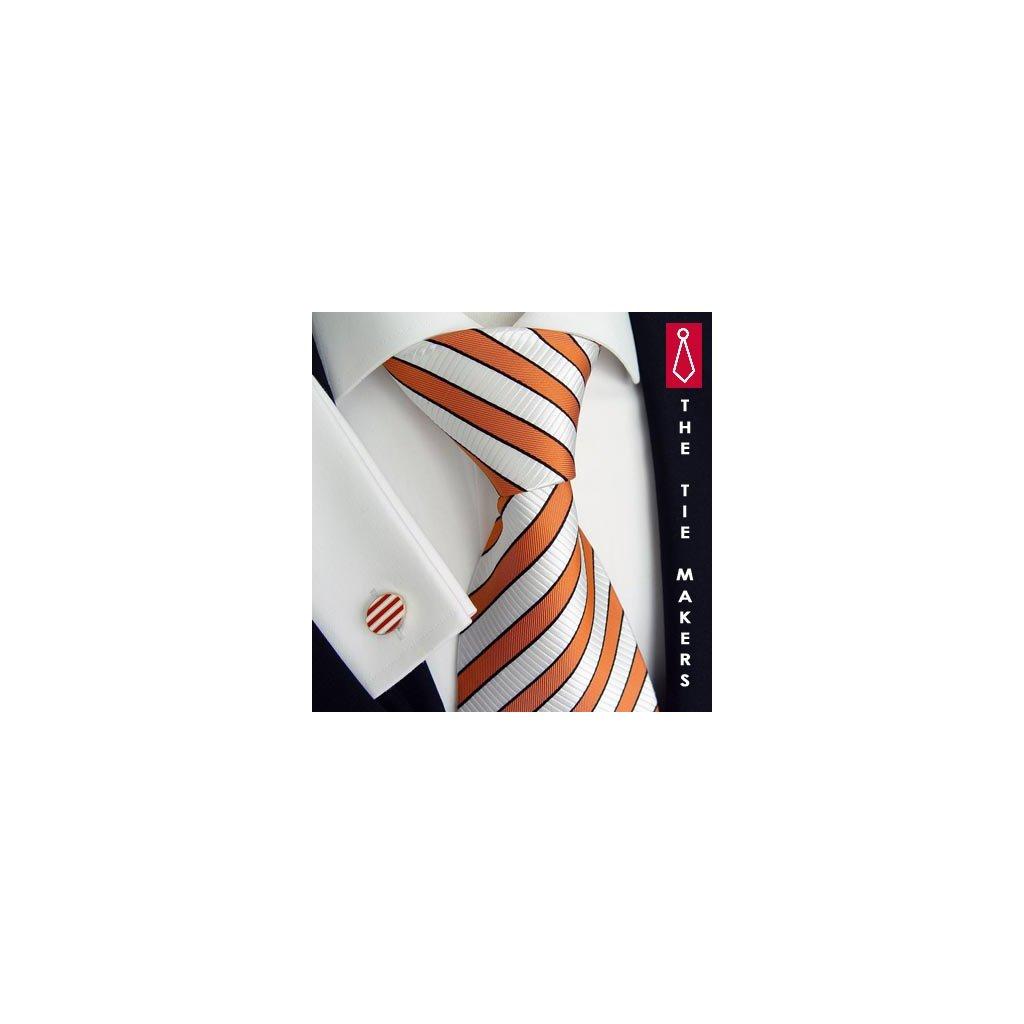 Luxusní hedvábná kravata bílá s oranžovým pruhem 166-3
