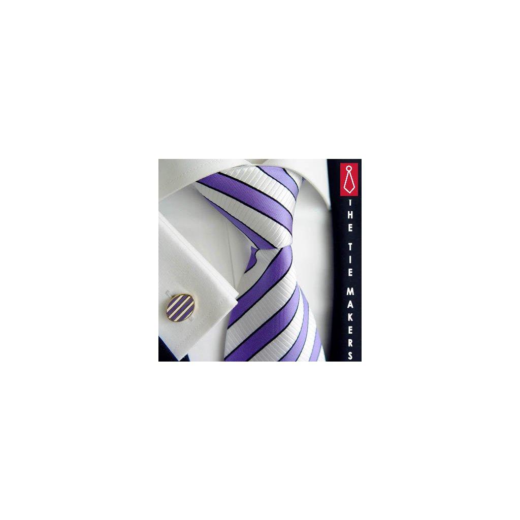 Luxusní hedvábná kravata bílá s fialovým pruhem 166-4