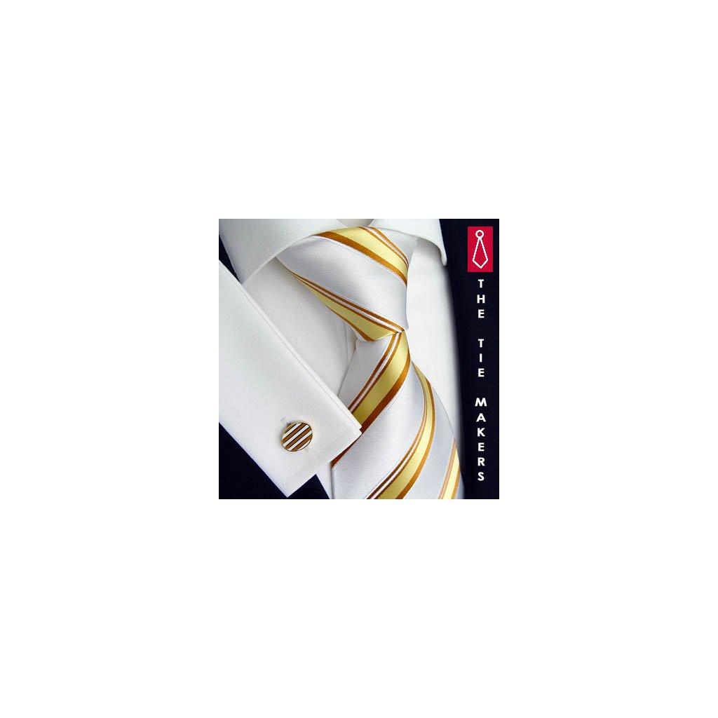 Luxusní hedvábná kravata bílá se žlutým pruhem 168-1