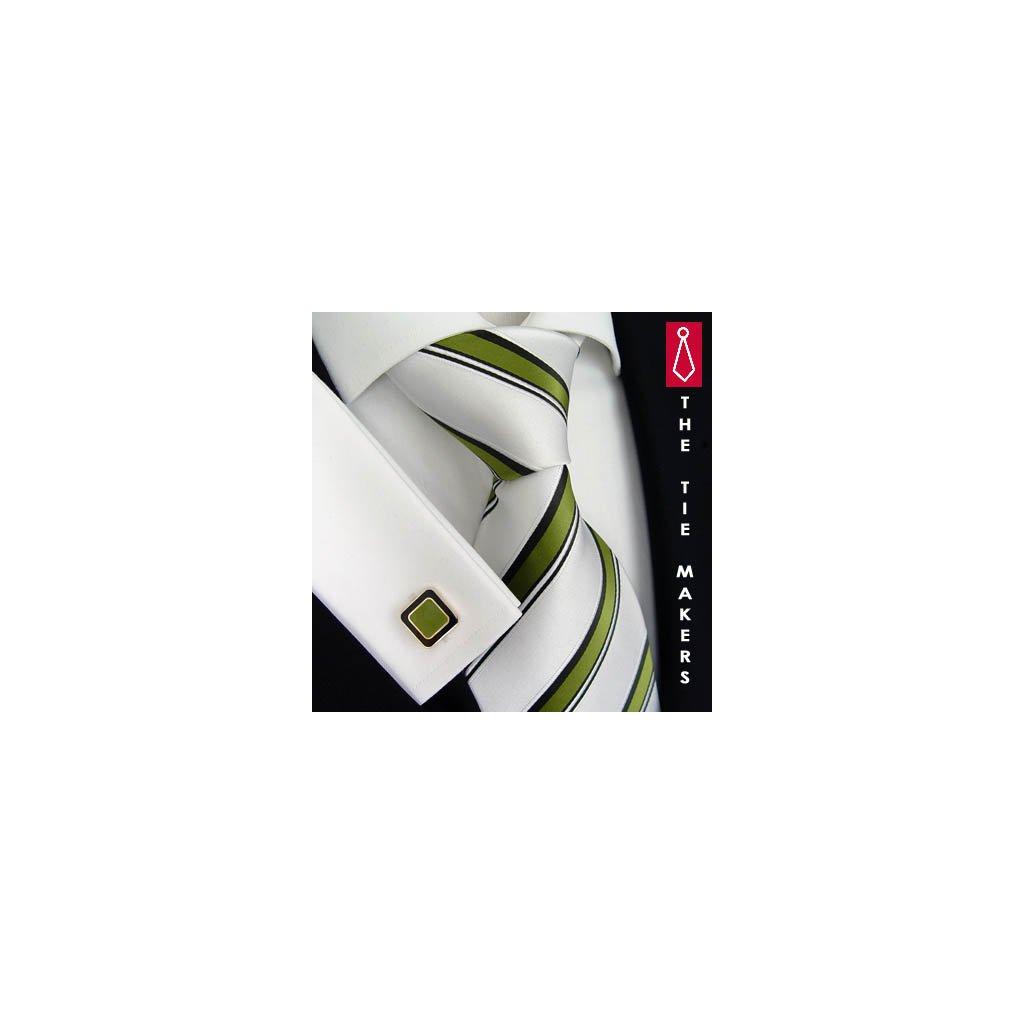 Luxusní hedvábná kravata bílá se zeleným pruhem 168-2