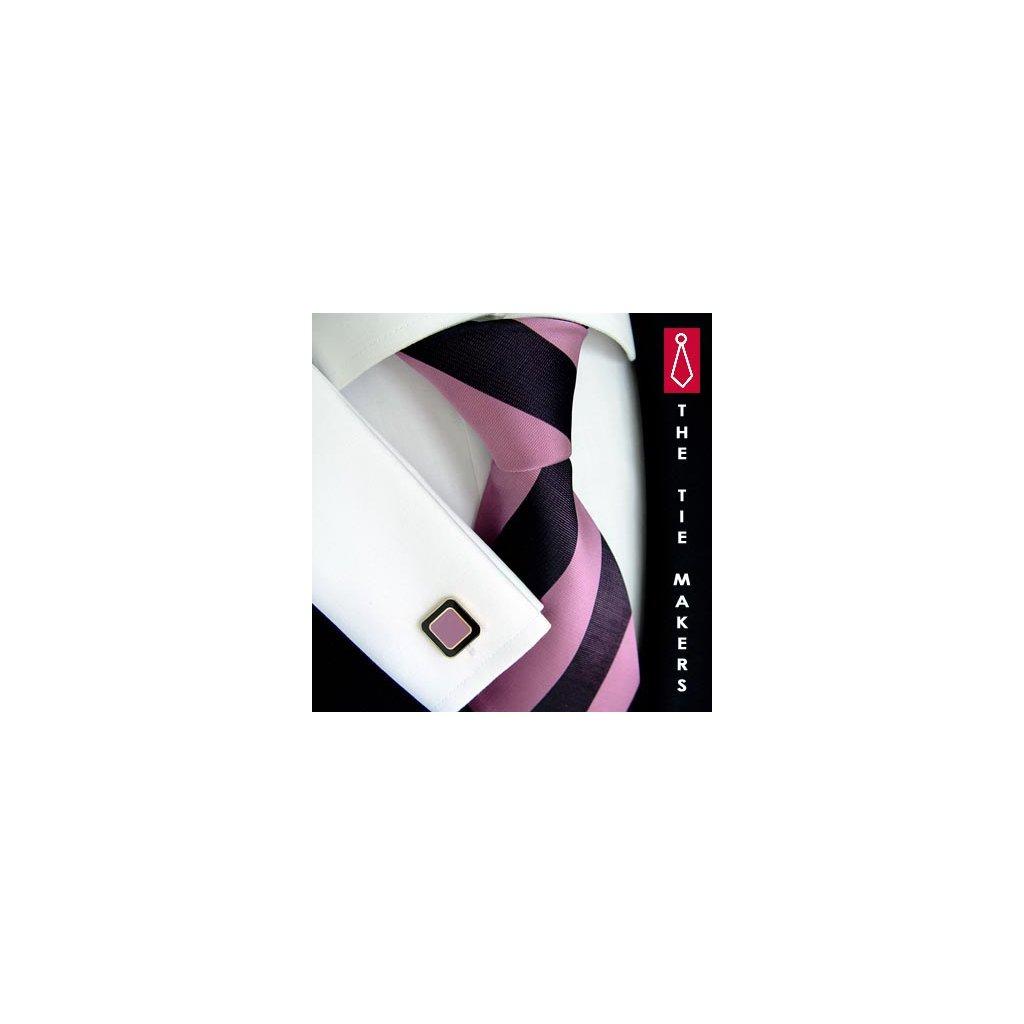 Luxusní hedvábná kravata vínová s růžovým pruhem 170-4