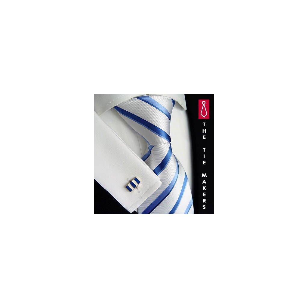 Luxusní hedvábná kravata bílá s modrým pruhem 18-11