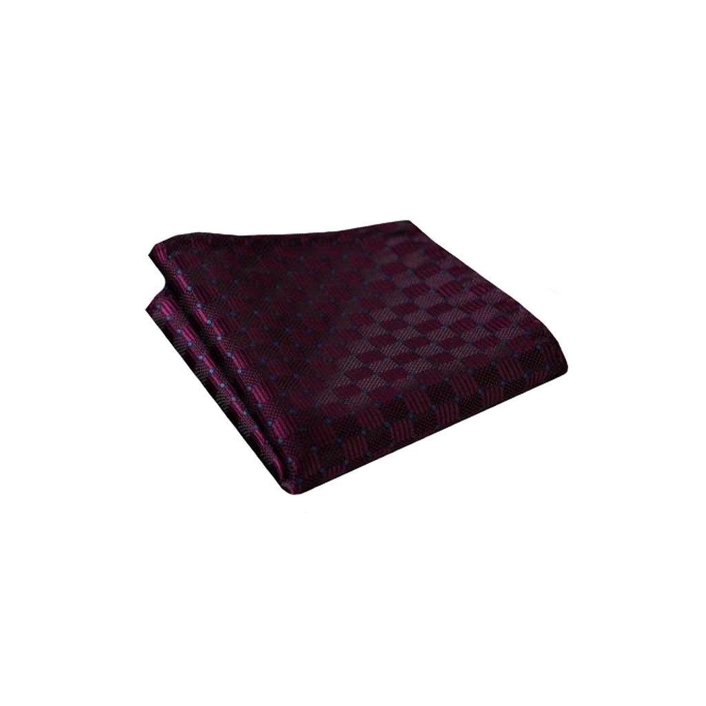 Hedvábný kapesníček vínový s fialovou tečkou