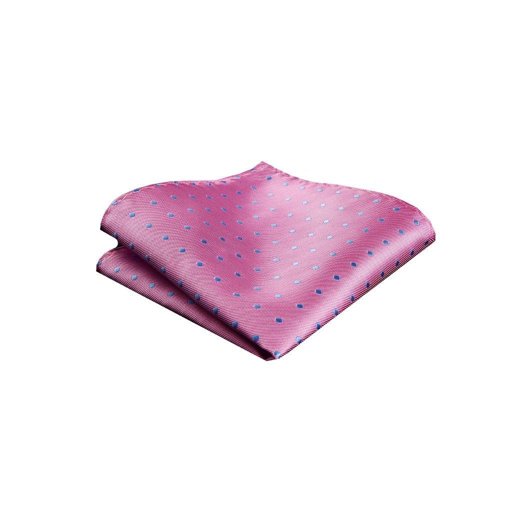 Hedvábný kapesníček - růžový s modrou tečkou