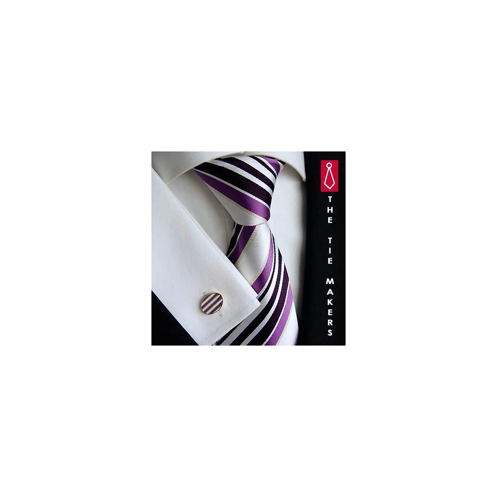 Luxusní hedvábná kravata bílá s fialovým pruhem 43-1